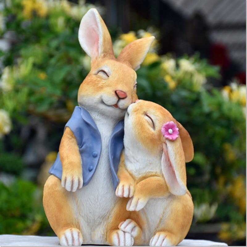 محاكاة أرنب إسكندنافية إبداعية من الراتينج ، ديكور منزلي ، فناء خارجي ، مناظر طبيعية صغيرة ، هدية خرافية ، ديكور حديقة صغير