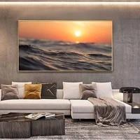 Peinture a lhuile de paysage  lac calme  lever du soleil  ciel dore  toile dart  salon  couloir  bureau  decoration murale de la maison