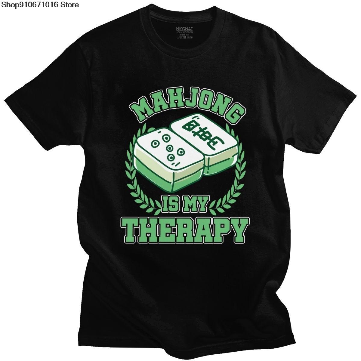 Mahjong to moja terapia T Shirt Men 100% bawełna stylowa koszulka z krótkim rękawem chińska kultura i gra rozrywkowa Mah Jong Tee