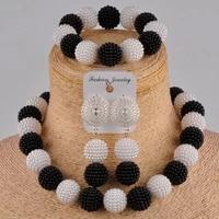 beautiful black and white costume necklace african set nigerian wedding jewelry fzz97 010