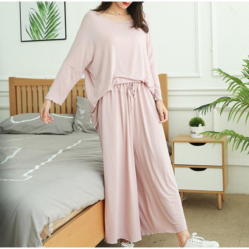 Femmes grande taille 2 pièces pyjamas ensemble haut à manches longues ample recadrée pantalon à jambes larges vêtements de nuit femme été Modal dame maison vêtements