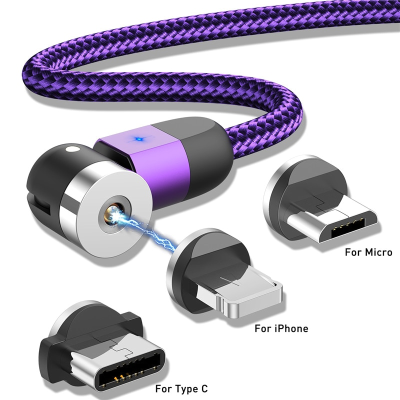 USLION nuevo Cable USB magnético Micro línea de datos carga magnética tipo C Cable usb para iPhone 11 Samsung usb c Cable de carga rápida