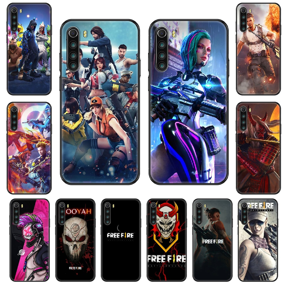 Game Free Fire Phone case For Xiaomi Redmi Note S2 4 5 6 7 8 A S X Plus Pro black pretty Etui art cell cover 3D funda silicone