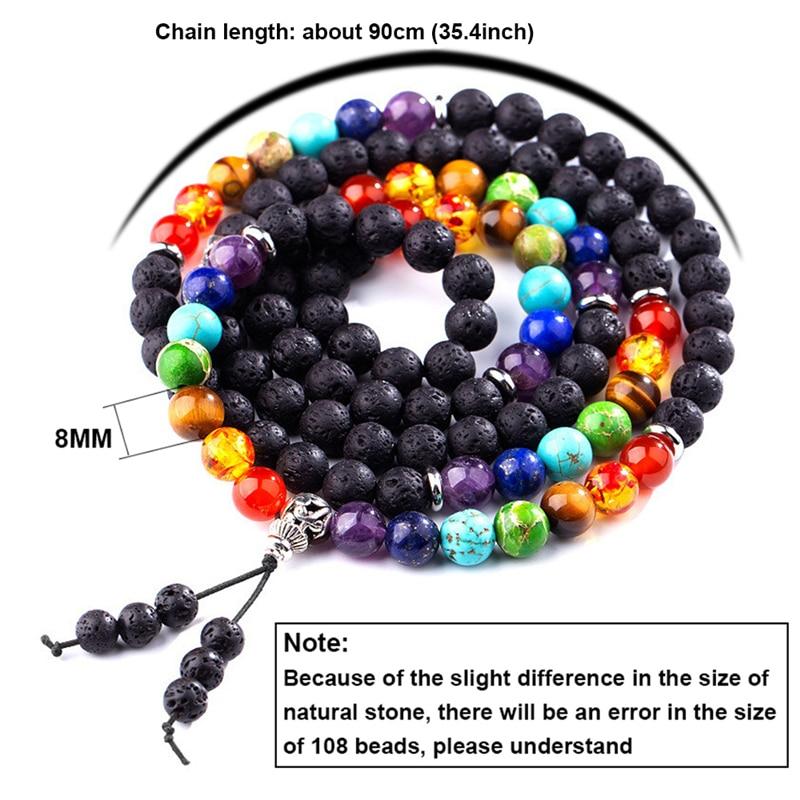 8mm Buddhism Lava Stone 7 Chakra Spiritual Men Rosary Prayer Beads 108 Mala Bracelets Yoga Tibetan Bohemia Multilayer Bracelet