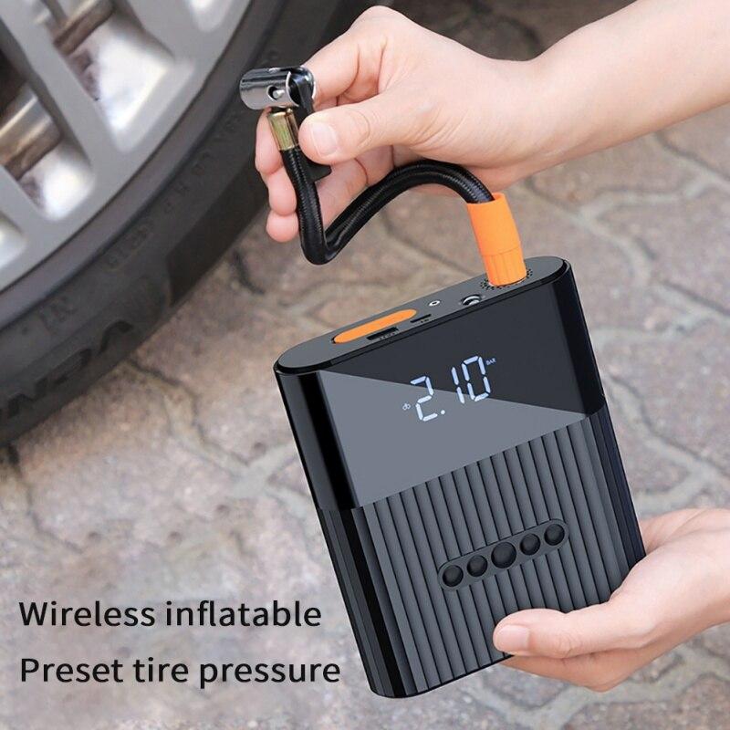 Bomba eléctrica de neumáticos de coche, inflador inalámbrico de bicicleta de motocicleta, USB recargable de 8800mAh con LCD Digital, compresor de aire ligero LED