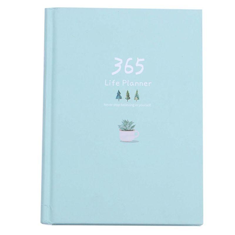 Cuaderno creativo de año 365 días página interior diario planificador mensual diario cuaderno, verde claro