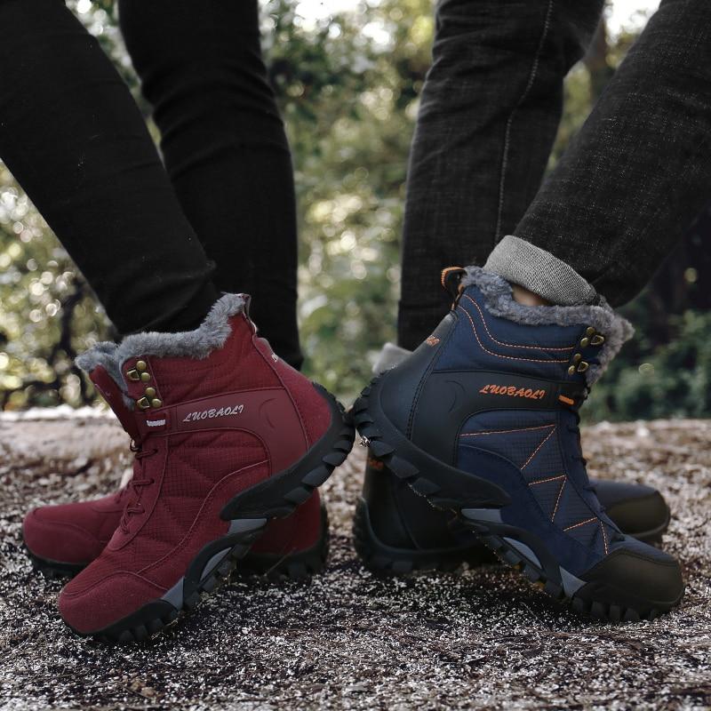 Winter Ankle Men Women Hiking Shoes Mountain Boots Snow Trekking Outdoor Wandelschoenen Botas Senderismo Hombre