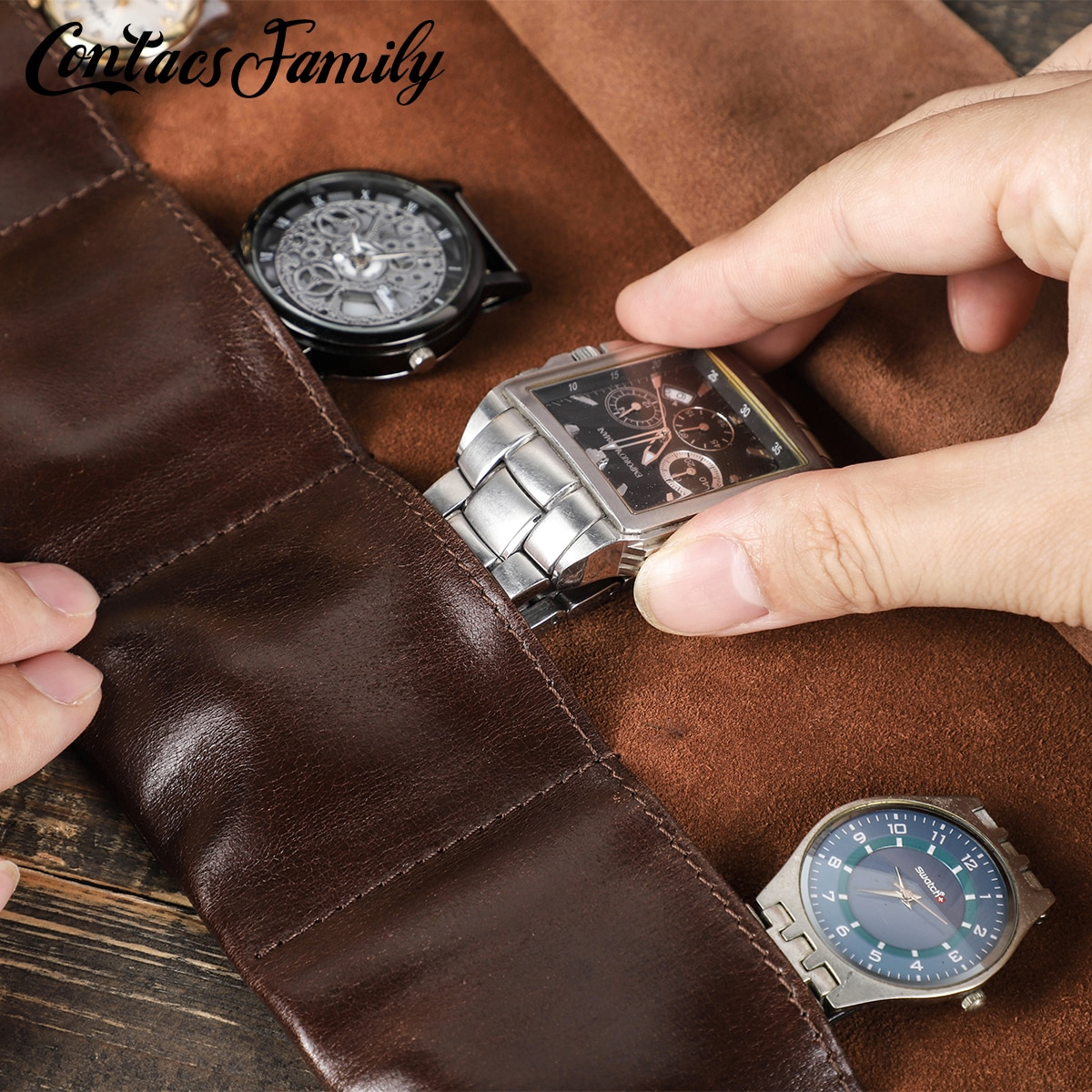 Luxury Vintage Watch Roll Travel Case Genuine Leather Personalised Display Box 6 Slots Wrist Watches Jewelry Storage Pouch double layer luxury storage watch box slots best gift for women makeup rose wood collect box vintage case family storage box