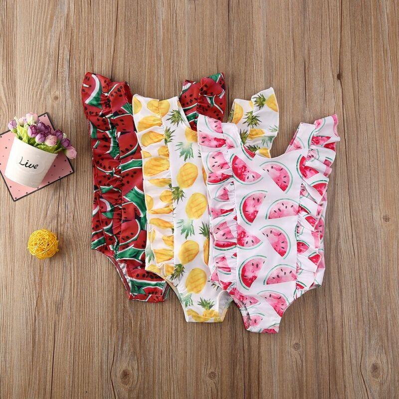 Детские купальники для девочек, милые модные цельные купальники без рукавов с принтом фруктов и оборками, купальники, пляжная одежда