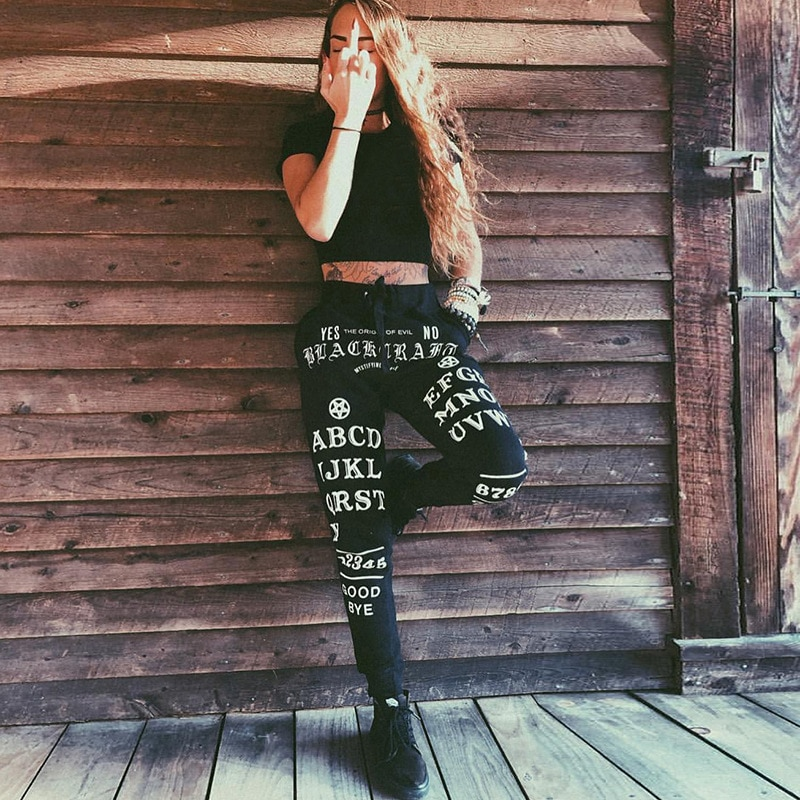 Black Harem Gothic Pants Women Streetwear Letter Printed Long Trousers Casual Punk Female Pants Loose Trouser Halloween black harem pants devil fashion gothic loose trousers steampunk black casual draped pants irregular breeches