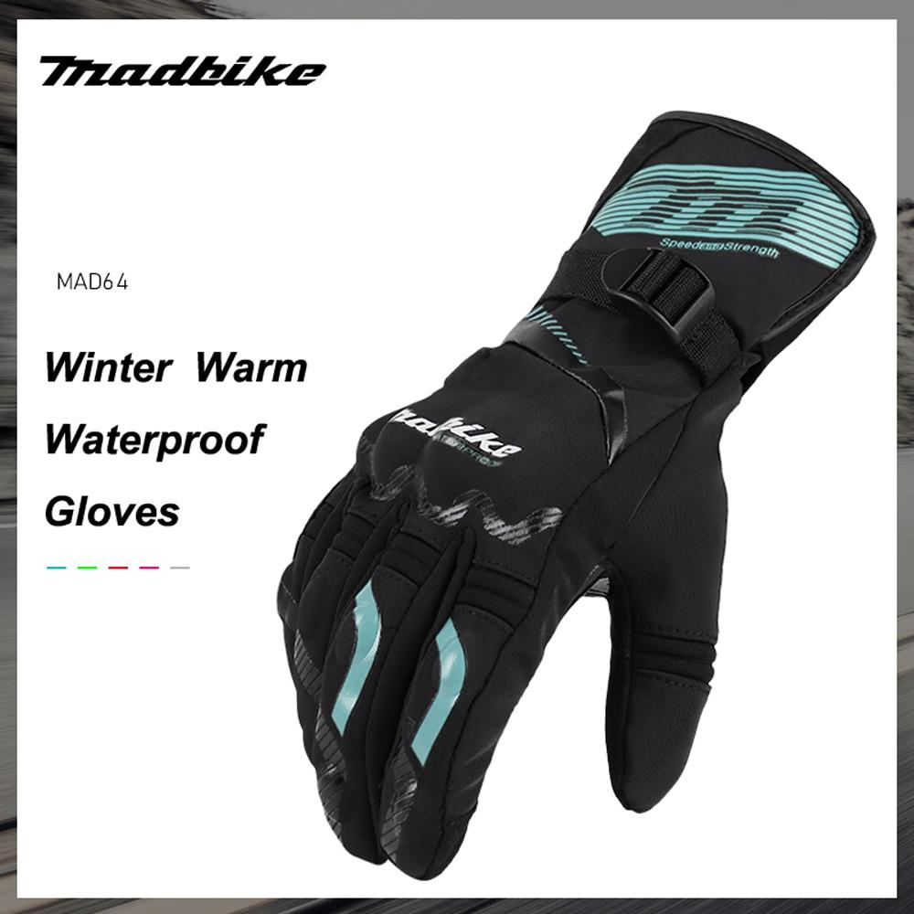 Guantes de Moto MADBIKE, Guantes de Moto impermeables de invierno para hombre, Guantes de Moto a prueba de viento para Motocross