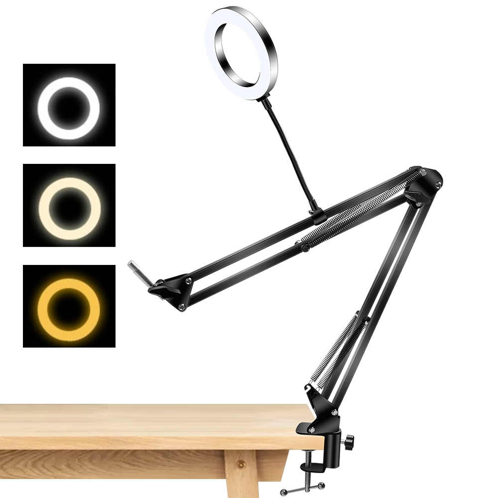 Anillo De Luz De escritorio De 6 pulgadas con soporte De brazo, Anillo, lámpara De mesa, Luz De estudio De Anillo De Luz De 26Cm para foto, Potrait, vídeo, manicura, Youtube