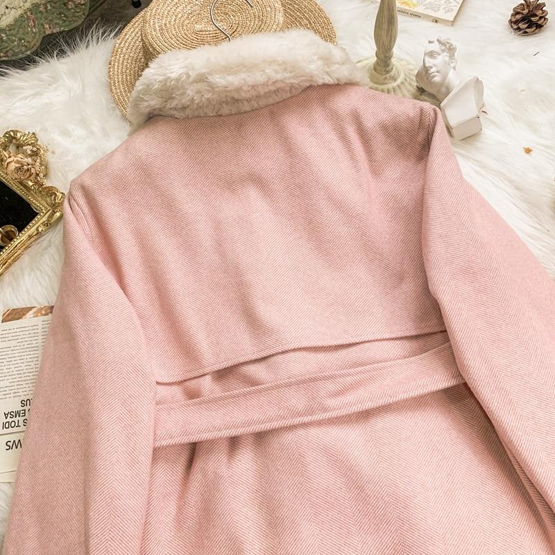 Lambwools Lapel Collar Jacket Women Winter Korean Sweet Soft Sister INS Outer Coat Girl Thicken Overcoat Student Tops