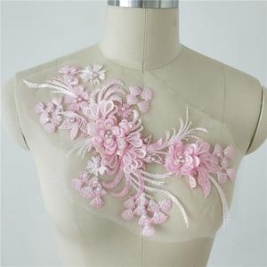 6 Pieces  3D Pearl Beaded Rosette Lace Applique Flower Lace Pacth Motif Handmade DIY Wedding Dress Evening Dress Accessories