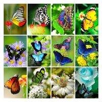 ZhuiStar     peinture diamant coloree  carre ou rond  image Animal papillon Dimond  autocollants muraux brodes  decor de maison