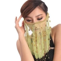 women belly dance face veil sexy tribal indian carnival party mesh veils performance accessories