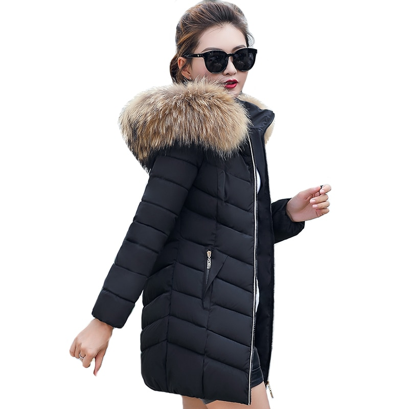 Big Fur Collar Long Womens Winter Jacket Coat Slim Jacket Thicken Outerwear Hooded Cotton Padded Bas