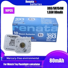 Lot de 10 batteries de montre RENATA argent oxyde 393 SR754W 754 155V 100% 393