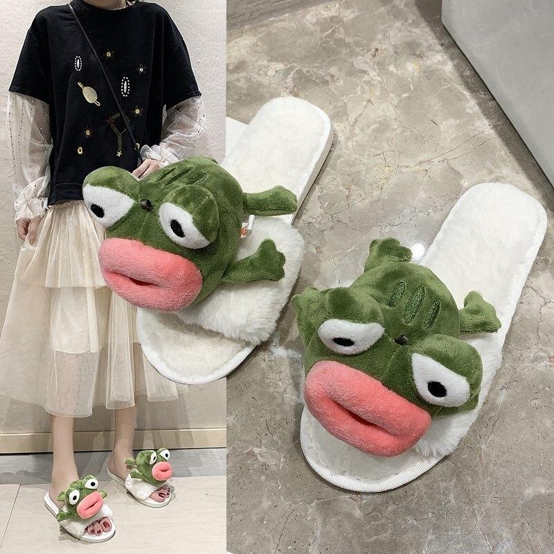 Fourrure chaussures femme pantoufles bas plate-forme dame luxe diapositives chaussures femmes troupeau peluche 2020 fille Massage plat concepteur automne basique