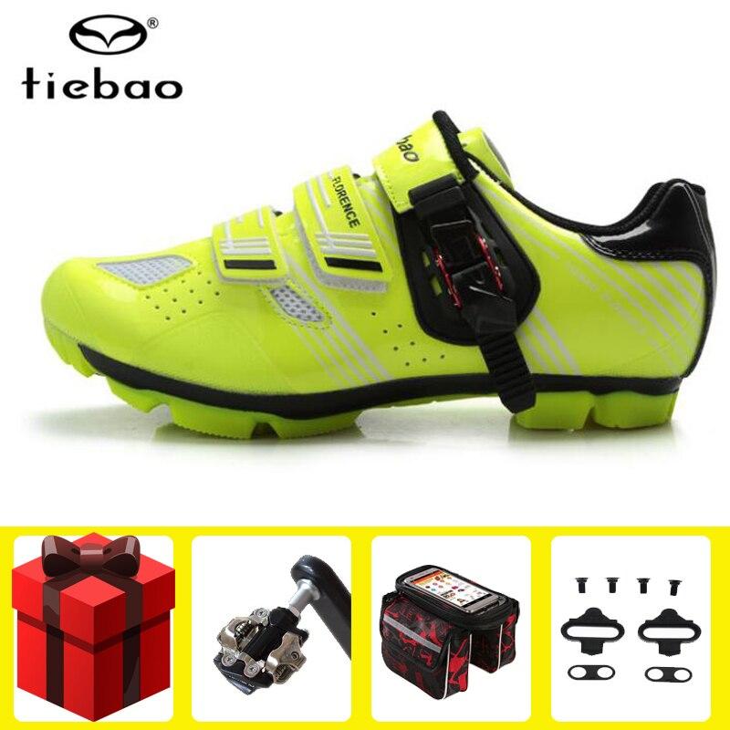 Tiebao-zapatillas de ciclismo de montaña para hombre, conjunto de zapatillas deportivas con autosujeción para bicicleta de montaña y deportes al aire libre