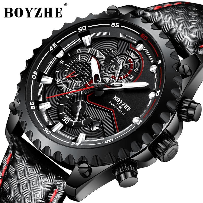 Relógio de Couro Semana à Prova Boyzhe Clássico Preto Relógios Mecânicos Automático Tourbillon Masculino Calendário Dwaterproof Água Relógio