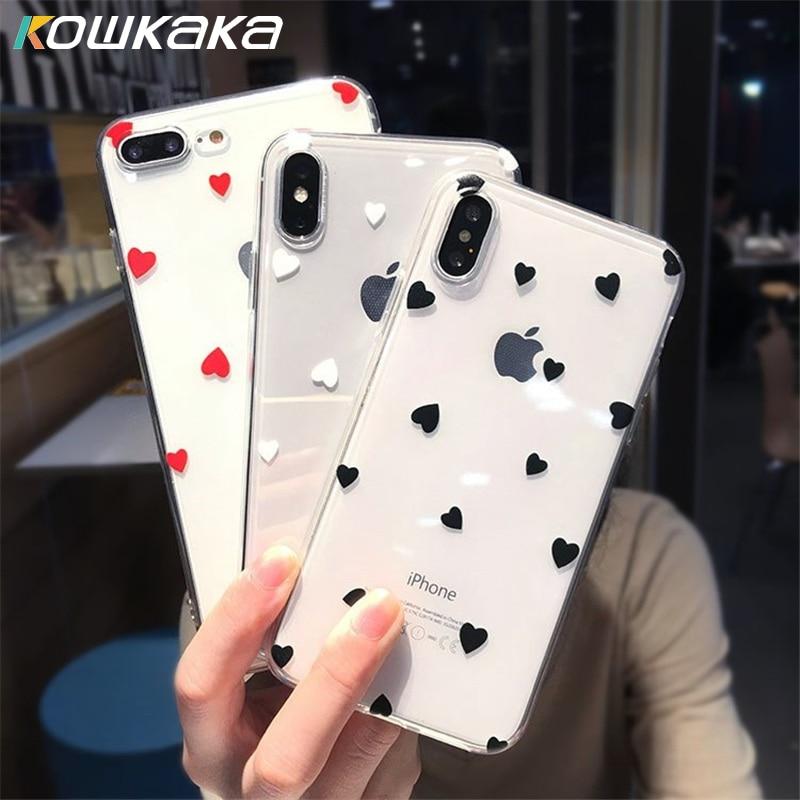 Kowkaka lindo Claer amor corazón caso para iPhone 11 Pro Max 6 6s 7 7 Plus X XR XS Max SE 2020 de dibujos animados de punto de onda suave TPU Capa