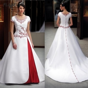 2021 A Line Wedding Dresses With Lace Appliques Embroidery Beaded Short Sleeves Bridal Gowns Plus Size Custom Made
