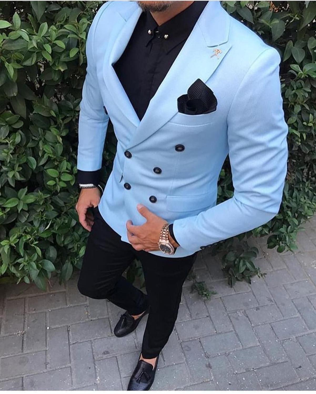 New Arrival Groom Tuxedos Double Breasted Light Blue Peak Lapel Groomsmen Best Man Suit Mens Wedding Suits (Jacket+Pants+Tie)