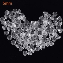 5mm 100pcs Clear Soft Silicone Rubber Earring Backs Safety Round Stopper High Quality Jewelry Access