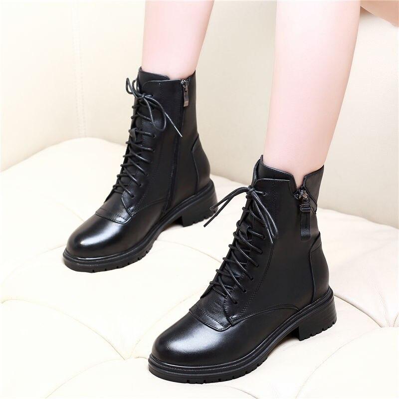 Botas de media caña para invierno y otoño, botas sexys con cordones y Tacón cuadrado medio, botas de Mujer de cuero negro con abertura, calzado con cremallera para damas Z0082