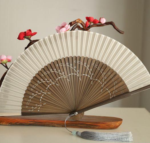 Ventilador plegable Vintage De estilo chino, ventilador De mano De bambú para...