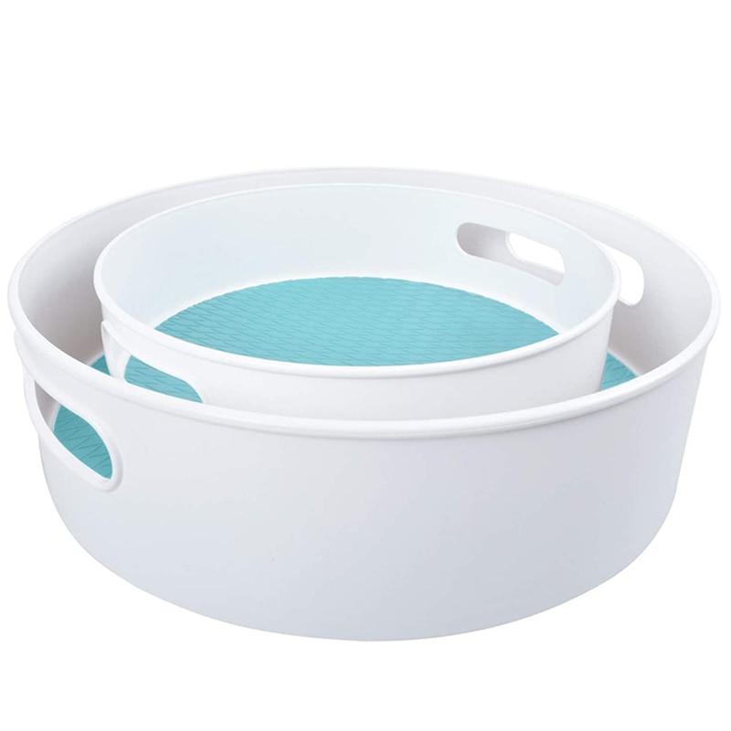 أسطوانة مطبخ مانعة للانزلاق ، مجموعة من 2 منظم ABS كسول سوزان ، رف توابل للثلاجة ، سطح العمل