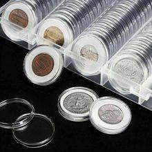 뜨거운 100 Pcs 동전 캡슐 둥근 홀더 직접 적합 27mm 두꺼운 투명한 방진 케이스는 기밀 수집 저장을 보호한다