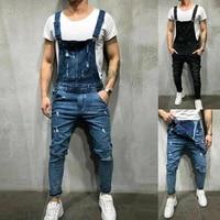 denim bib pants for men hip hop skinny pocket leggings retro casual streetwear plain plus size