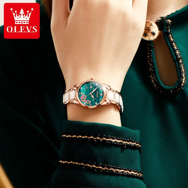 OLEVS New Ladies Rose Green Fashion Casual Diamond  Quartz Watch Ceramic Steel Band Waterproof Luminous  Watches Female 3605 enlarge