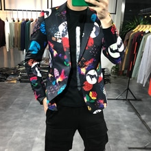 Korean Men 2021 Blazers Fashion Printed Casual Slim Suit Jacket Wedding Business Blazer Male Clothin