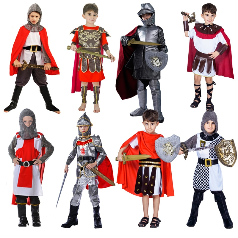 DSPLAY Boy's Roman Knight Warrior Role Playing Kids Halloween Costumes Cosplay Children's Soldier Warrior Gladiator Costumes