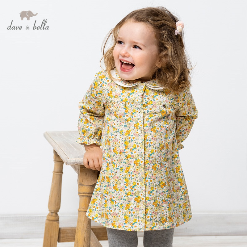 """DB16711 2 нижнее белье в стиле бренда dave bella/весна, сказочное детское платье для девочек с цветочным рисунком; Платье с принтом для девочек модная детская одежда Вечерние платья для маленьких детей в стиле """"Лолита"""", одежда Платья для девочек    АлиЭкспресс"""