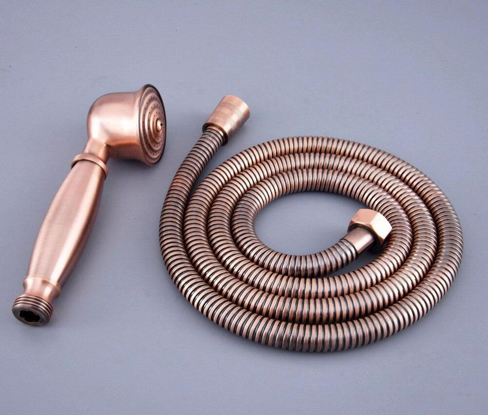 Antique Red Copper Brass Bathroom Telephone Shape Hand Spray Handheld Shower head 1.5m Hand Held Shower Head Hose mhh127