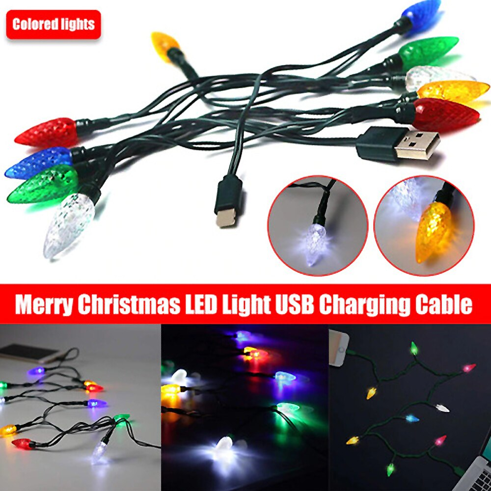Cable de carga USB de luz LED de Feliz Navidad, decoración de...