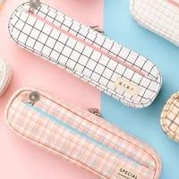 grid pen bag stylish large capacity rectangle shape durable soft long lasting washable useful for stationery