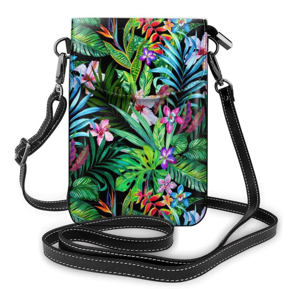 personalized Print Leaf Shoulder Bag Leather Trend Small Women Bags Student Crossbody Street Pattern Multifunction Purse