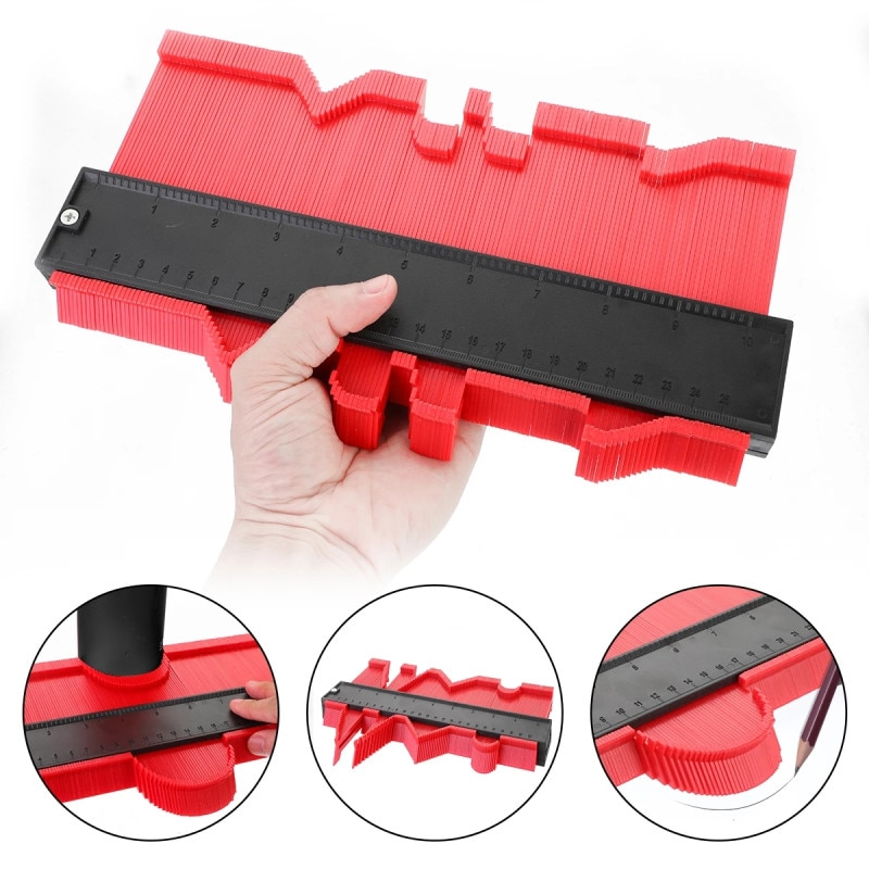 12/14/25/50cm Contour Gauge Plastic Profile Copy Standard Wood Marking Tool Tiling Laminate Tiles Tools Profile Measuring Tools