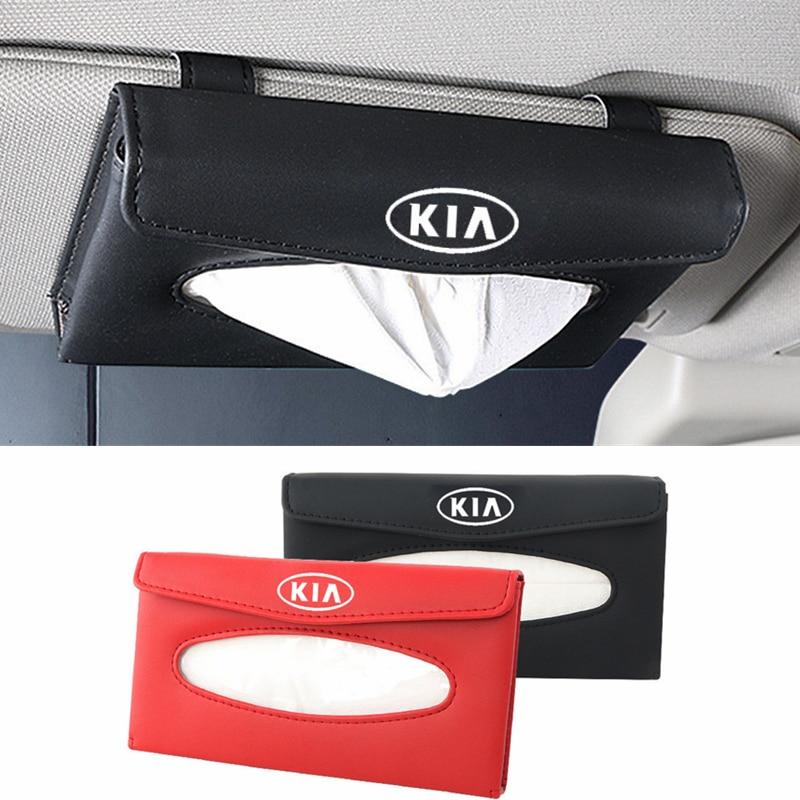 Caja de pañuelos de coche visera soporte para caja de pañuelos accesorios de almacenamiento Interior para KIA K2 K3 KX3 K4 K5 Optima Ceed Rio 3 4 Pegas