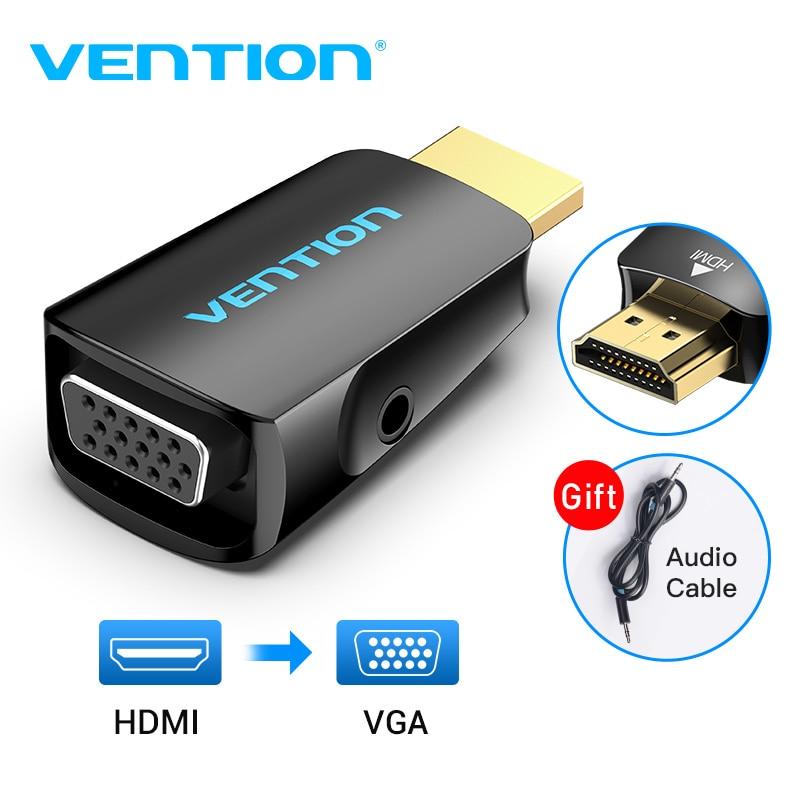 Convenio adaptador de HDMI a VGA HDMI macho a VGA Felame HD 1080P HD convertidor de Cable de Audio con 3,5 Jack para PS4 portátil de la caja de la PC para proyector