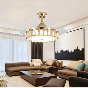 Modern Crystal Ceiling Fan with Lights Remote 42Inch Chandelier with LED Lights Invisible Retractable Blades Fandelier
