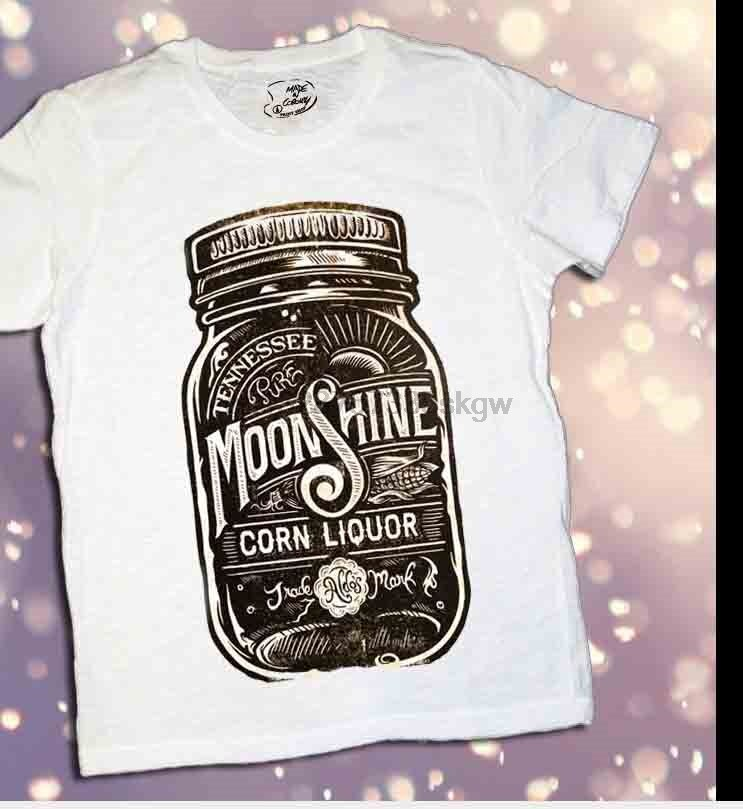 Estilo de verano de alta calidad camisetas para hombre Camiseta Barattolo Moonshine Corn Liquor 2014-tatuaje Slub-Cuello redondo