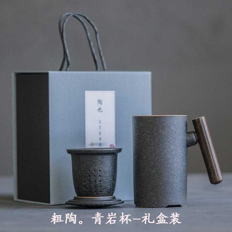 كوب سيراميك مع فلتر وغطاء ، طقم شاي من حجر الشحذ الصيني ، طقم شاي على شكل زهرة ، مصفاة شاي من السيراميك ، فلتر إبريق شاي