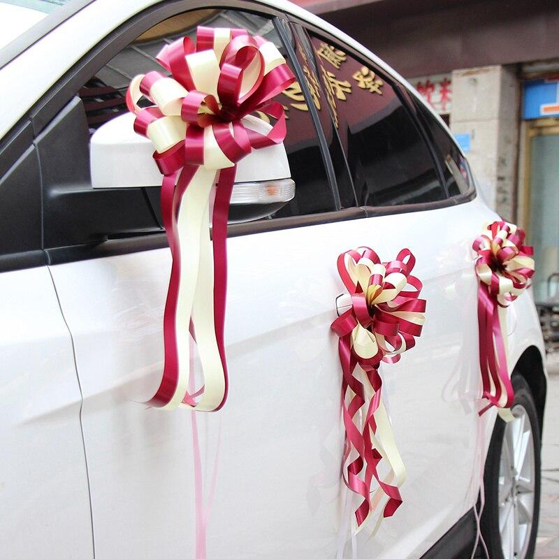 10 unids/lote, cinta de belleza, lazos, decoración de coche de boda, flor artificial para fiesta en casa, cintas festivas, suministro de boda
