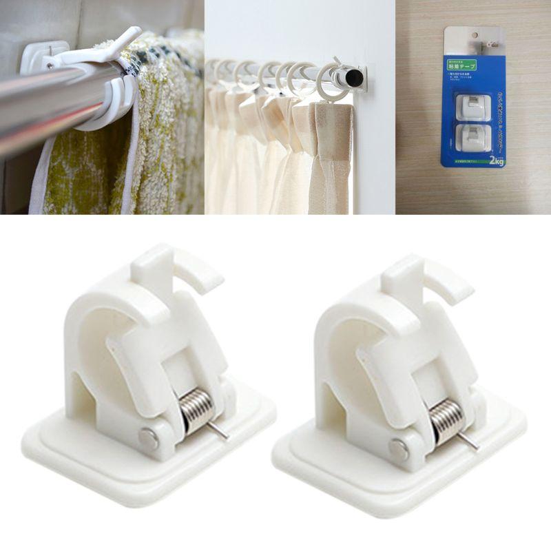 Haste de cortina suportes sem broca ajustável vara clipe fixo titular pendurado rack gancho para cozinha banheiro 1 par